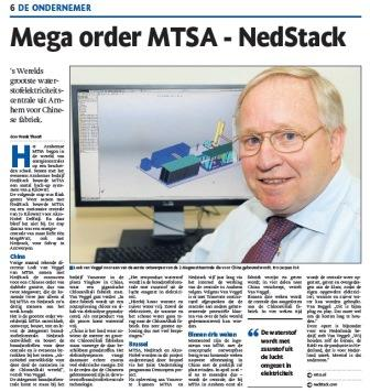 Mega order MTSA - Nedstack - 2MW fuel cell centrale